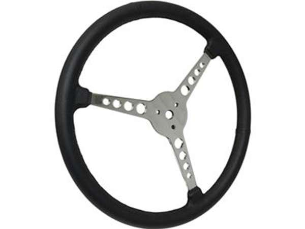 1932 1947 Ford Pickup Steering Wheel Black Leather Grip 3 Spokes with Holes