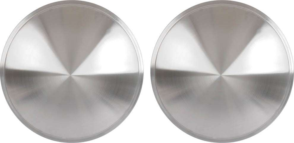 13 Brushed Aluminum Look Stainless Steel Full Moon Style Wheel Cover Set 2 Pieces